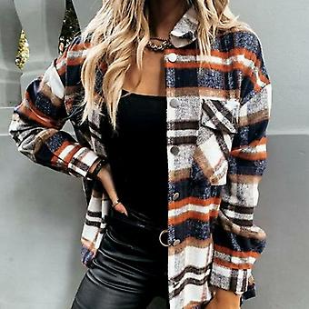 Kockás blúz gomb hosszú ujjú női ing / kabát
