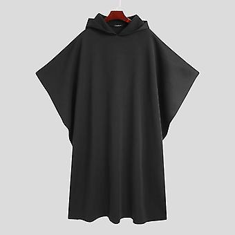 Men Cloak Coats, Hooded Cape, Solid Streetwear, Punk Style, Windproof, Long