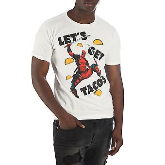 Deadpool let's få tacos menn's hvit t-skjorte t-skjorte