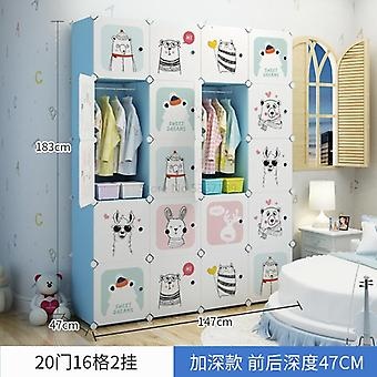 Children's  Cloth Assembled Simple Cartoon Wardrobe, Multi-purpose Plastic