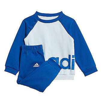 adidas Linear Fleece Infant Kids Crew Jogger Tracksuit Suit Set Blue