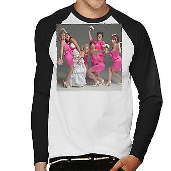 Bridesmaids Bridal Party Wacky Wedding Photo Men's Baseball Long Sleeved T-Shirt