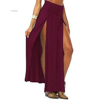 Arrival High Waisted Sexy Women's Double Summer Solid Long Maxi Skirt