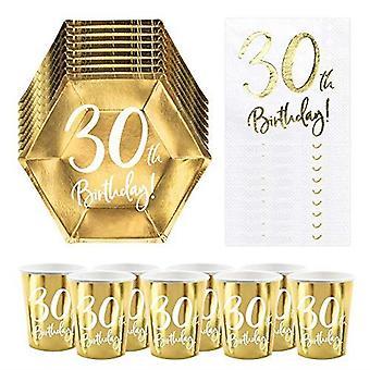 30 års fødselsdagsgave | 6 Guldplader | 6 Guld papir kopper | 20 papirservietter