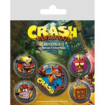 Crash Bandicoot Pop Out Badge Set (Pack of 5)
