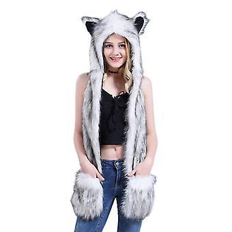 Naiset, Miehet, Pörröinen Muhkea Eläin Susi Leopard Hood Huivi Hattu Tassut, Lapaset,