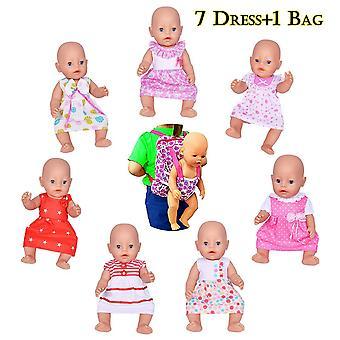Ebuddy dukke tøj-omfatter 7 sæt dukker tøj +1 poser til 14-16 tommer nyfødte baby dukker, i live d