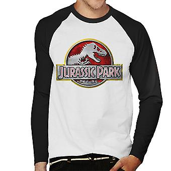 Jurassic Park Yellow Outline Classic Logo Men's Baseball Long Sleeved T-Shirt