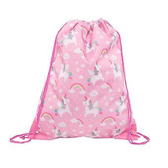 Rainbow Pink Unicorn Drawstring Bag / Swim Bag