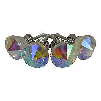 3cm Crystal Effect Doorknobs, diamond shaped, set of 4