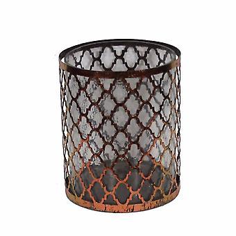 Support de bougie en métal/verre en détresse, cuivre