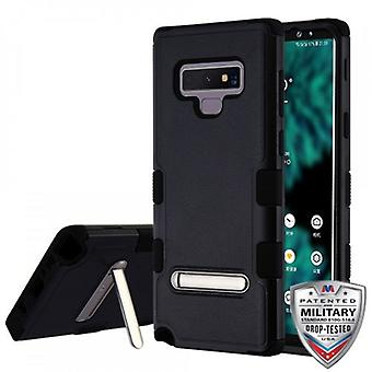 MYBAT TUFF HYBRID PROTECTOR CASE FOR GALAXY NOTE 9 W/ MAGNETIC METAL STAND-NATURAL BLACK/BLACK