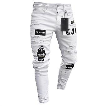 Men Stretchy Ripped Skinny Biker Embroidery Print Jeans, Hole Taped Slim Fit,