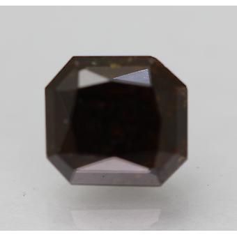 Cert 1.51 Ct Braun schwarz Radiant Enhanced natürliche lose Diamant 6.42x5.87mm 2VG