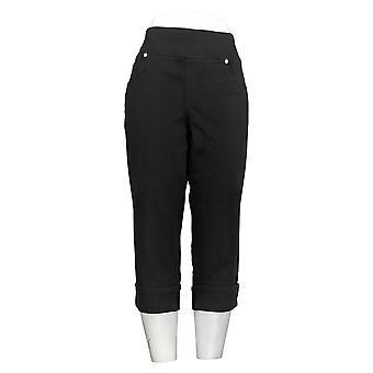 Belle By Kim Gravel Women's Petite Jeans Flexibelle Cuffed Black A345863