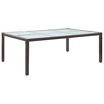 Tavolo da pranzo esterno marrone 200x150x74 Cm Poly Rattan