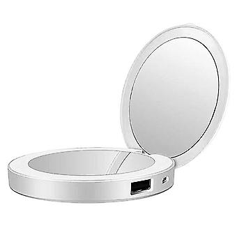 Led mini makeup mirror hand held fold small portable usb cosmetic