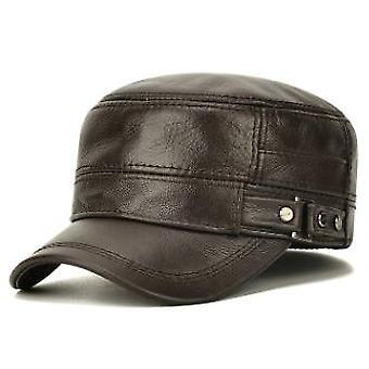 Men's Flat Cap Fashion Warm Ear Protectors Genuine Leather Hat