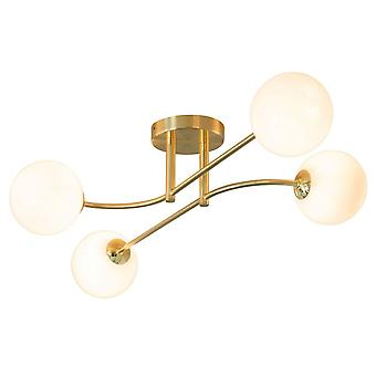 Endon Collection  Otto 4lt Semi Flush Ceiling Light In Brushed Brass