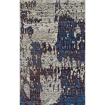 Spura Home Hand knyttede moderne blå & chokolade bomuld & silke 5x8 område tæppe