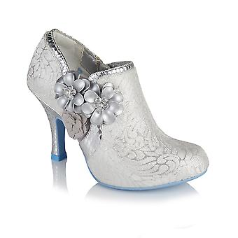 Ruby Shoo Electra White Silver Brocade Jewelled Bootie &Matching Toulouse Bag