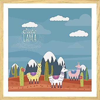 Toont illustratie lama's en besneeuwde pieken