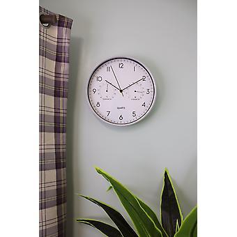 Grå väggklocka 30cm med termometer/hygrometer