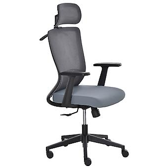 Vinsetto Mesh Home Office Chair with Lumbar Back Support, Coat Hanger High Back Swivel Task Chair, Adjustable Height Head Pillow, Blue Grey