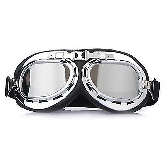 Lentes cromadas universales UV motocicleta ATV casco gafas