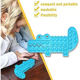 2 Pack Pop Bubble Sensory Fidget, Autism Special Need Silicone Stress Reliever Squeeze Sensory Toy (crocodile + Dino)
