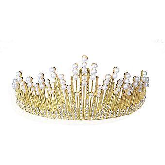 Coroa de Pérola de Ouro Tiara Noiva Casamento Nupcial Joias Tiaras Coroa