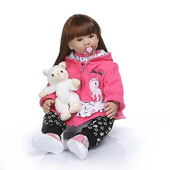 60Cm kiváló minőségű puha szilikon újjászületett kisgyermek lány baba kapucnis ruha bebe baba újjászületett hosszú haj baba 6-9m valódi baba mérete