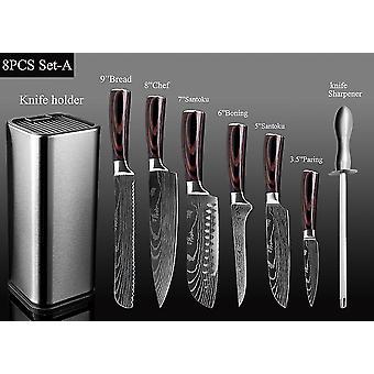 Küche Koch Set 4-8PCS Set Messer Edelstahl Messerhalter Santoku Utility Cut Cleaver Brot