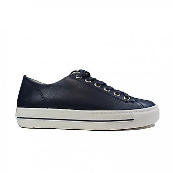 Paul Green 4704-089 Navy Leather Womens Lace Up Casual Trainers
