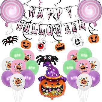 Lohill Happy Halloween Party Decoración Globos Set, Halloween Balloons Kit Con Banner