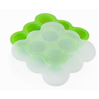 9-hole Silicone Baby Food Supplement Box Storage Box Sealed Fresh-keeping Box Ice Tray Mold-Green