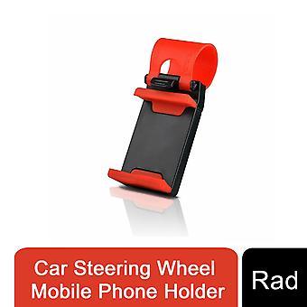 Auto stuurwiel mobiele telefoon houder voor alle mobiele telefoons Rood