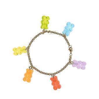 Gemshine Armkette mit Gummibärchen im Regenbogen Farbverlauf - Made in Germany