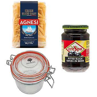 Kit de ferme Seven Trees avec 4 produits | 1 x bocal en verre 350ml, 1 x pâtes italiennes Penne 500g, 1 x olives noires 354G et un sac d'arbre recycler GRATUIT