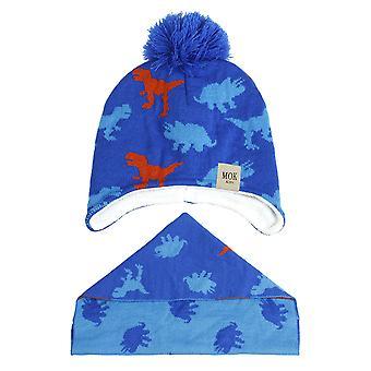 Kids Beanie Hat Circle Scarf Set Winter Warm Thick Fleece Lining Knitted Beanie Ear/neck Warmer