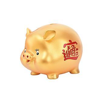 Suuren kapasiteetin kultainen rahalaatikko lapsille ja aikuisille, luova ja söpö rahalaatikko