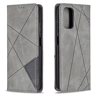 Etui do Xiaomi Redmi Note 10s Flip Cover Łączenie skóry Pu - szary