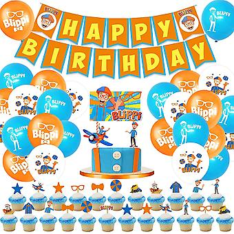 Birthday Party Supplies  68pcs Set Including 1pack Blippi Happy Birthday Banner, 24pcs Latex Balloons, 24pcs Cupcake Toppers, 1pack Cake Topper