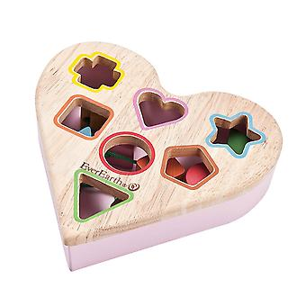 EverEarth Heart Shaped Shape Sorter With Wooden Blocks 12m+
