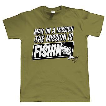 Mann auf einer Mission, lustige Angeln T-Shirt, Karpfen Angler Geschenk für ihn Papa Opa