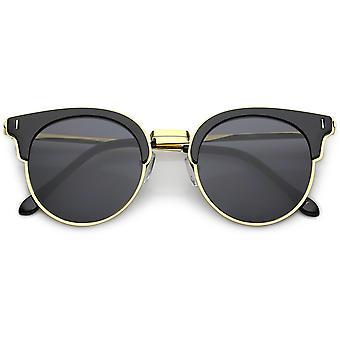 Semi-sans monture plastique Cat Eye lunettes de soleil métal bras minces ronde lentille plate 48 mm