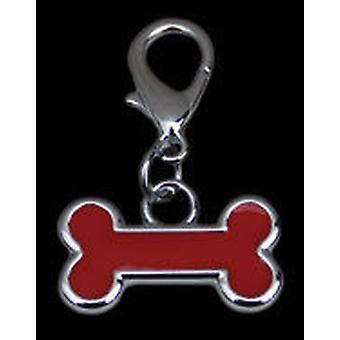 Freedog Red enameled pendant bone (Dogs , Collars, Leads and Harnesses , Accessories)