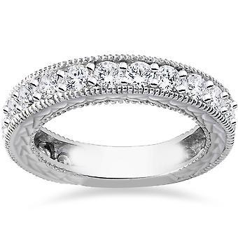1 3 / 8ct Antik echter Diamant Ehering Jubiläum