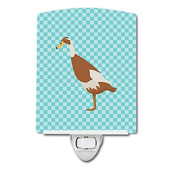 Carolines Treasures  BB8039CNL Indian Runner Duck Blue Check Ceramic Night Light