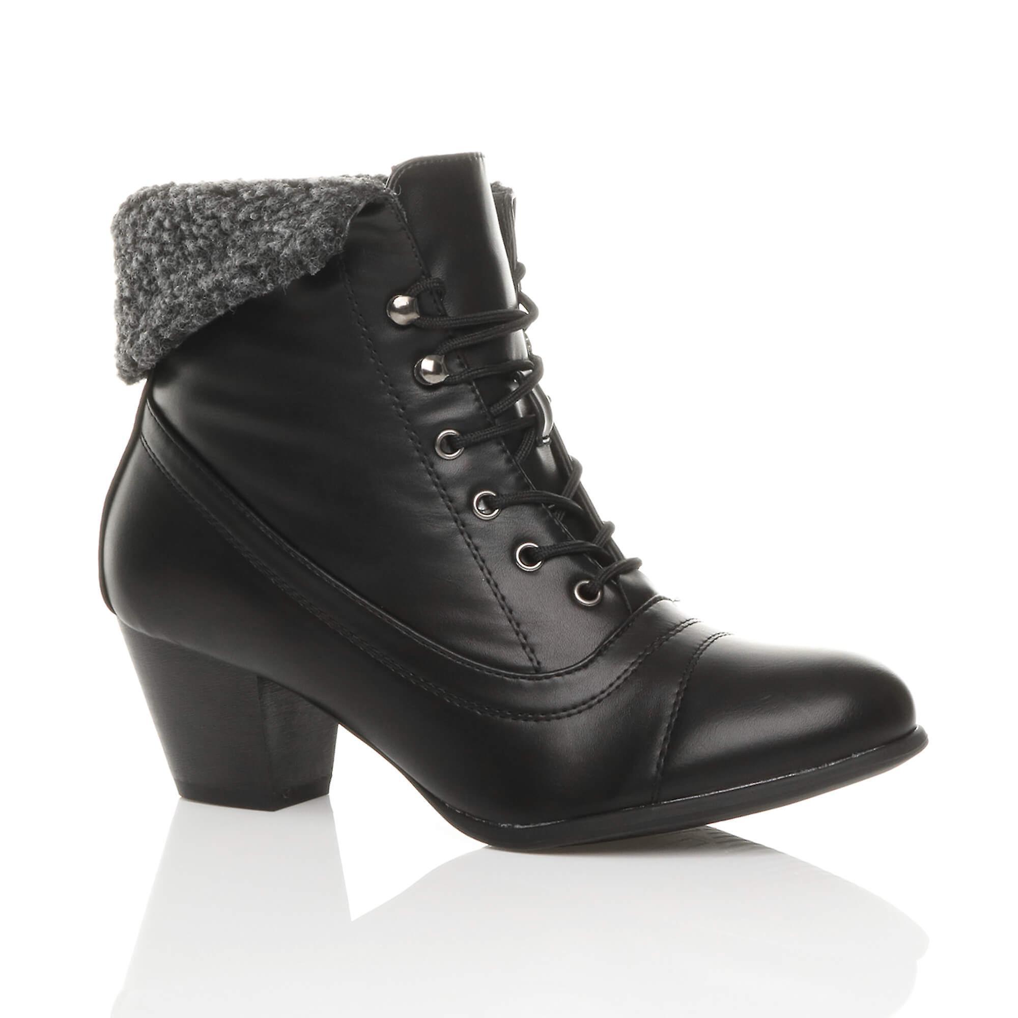 Ajvani womens mid heel lace up vintage fur cuff winter pixie ankle boots fT85U